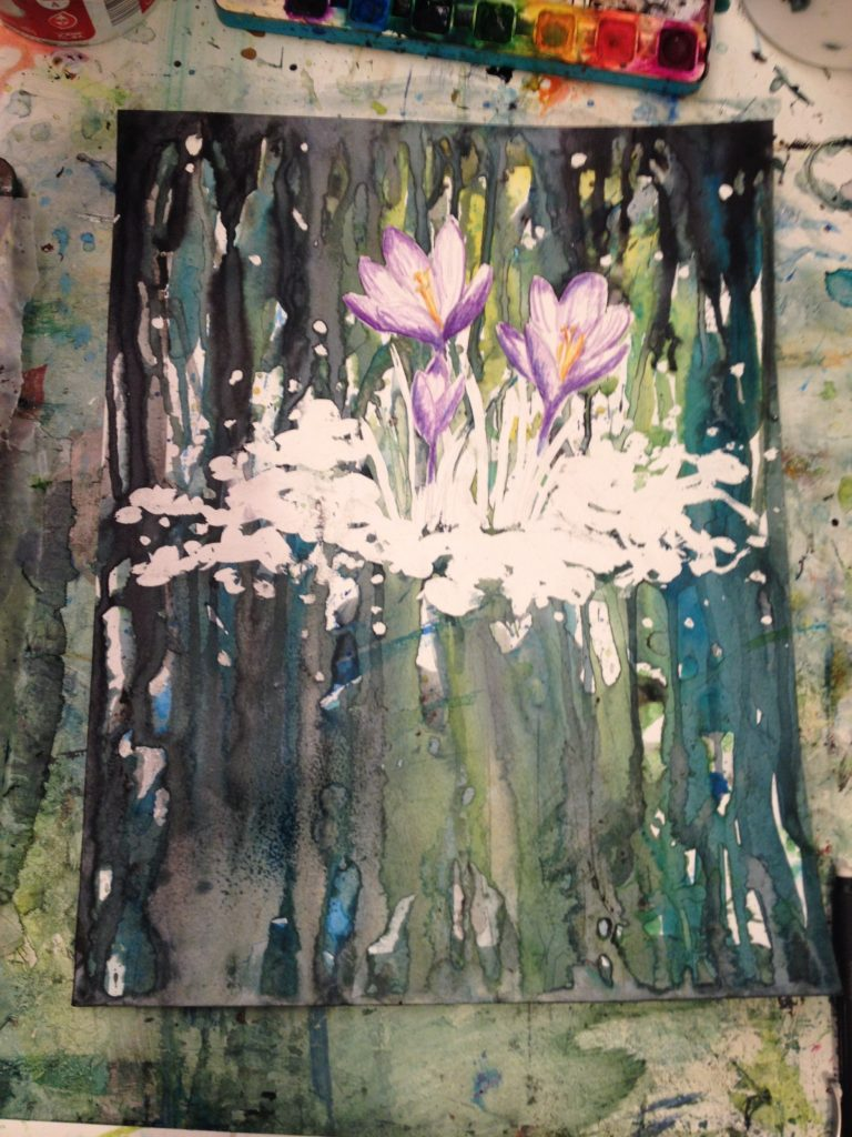 Work In progress crocus abstract mixed media painting